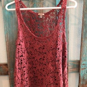 Pink lace tank top!